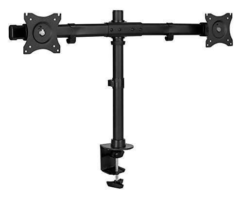 Mount-It! Dual Monitor Mount   Double Monitor Desk Stand Arm   Fits 2 Computer Screens 17 19 20 21 22 24 27 Inch   Two VESA 75 100 Compatible Displays   C-Clamp and Grommet Bases Included