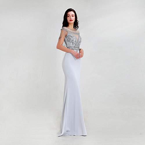 BINGQZ cocktailjurk/klassieke grijze zeemeermin avondjurken O-hals parels kwast vloerlengte satijnen jurk in vrouwenjurk
