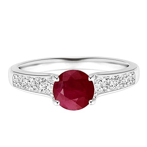 Tapered Shank Piedra preciosa de rubí redonda de 6 mm Oro amarillo de 9 quilates Anillo de compromiso solitario (Oro blanco, 19)