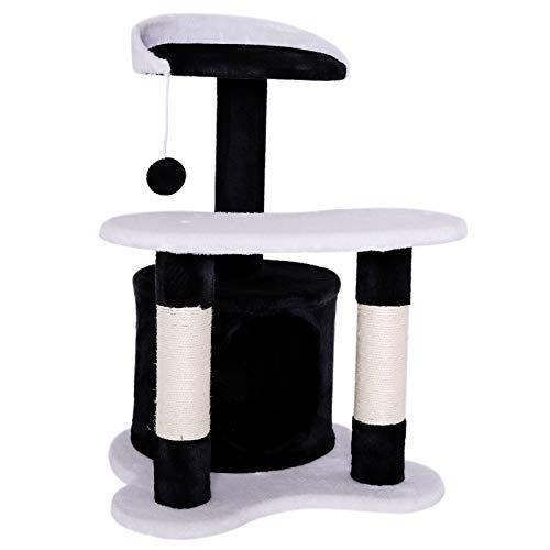 dibea Tiragraffi per gatto albero tiragraffi gatto gioco giocattolo gatti Altezza 65 cm bianco/nero