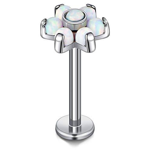 Cizme G23 Titanium Lip Labret Stud Bar 16G Helix Tragus Cartilage Earring Studs 6mm 8mm 10mm with Opal Flower Internally Threaded