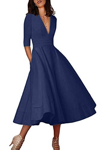TYQQU Elegantes Kleid für Frauen Tiefem V-Ausschnitt Sommerkleid A-Linie mit Tasche Cocktail Kleid Einfarbig Navy BLAU S