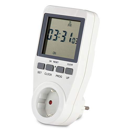 Hama digitale Zeitschaltuhr mit Wochenprogramm u. Zufallsfunktion (Wochenzeitschaltuhr mit extragroßem Display, minutengenau Beleuchtung, Bewässerung, Aquarium programmieren, 3680 Watt) weiß