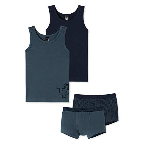 Schiesser Jungen Unterwäsche Set - Jersey Stretch, 4-teilig (2X Unterhemd + 2X Shorts) (Blau (901), 140)