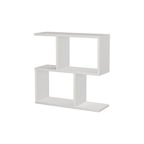 Hocuspicus 2 Tier Storage Side Table - Many Colour Options - 60x60x20cm - Shelves Organizer Office Living Room End Desk Stand Display (White)