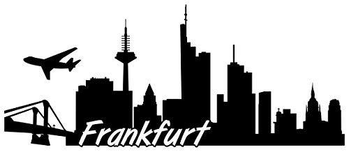 Samunshi® Frankfurt Skyline Wandtattoo Sticker Aufkleber Wandaufkleber City Gedruckt Frankfurt 120x51cm schwarz