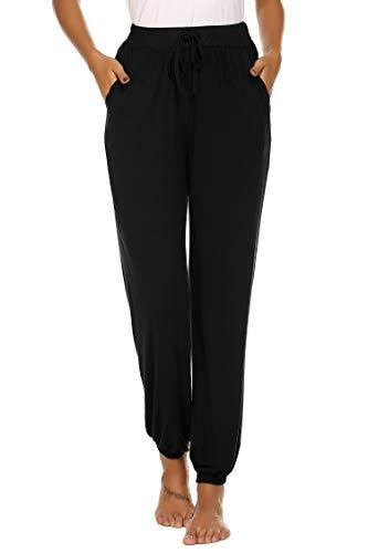 NesIust Damen Jogginghose Lang Sporthose Yoga Hosen Freizeithose Sweatpants Trainingshose für Frauen Fitness Trainings schwarz XXL