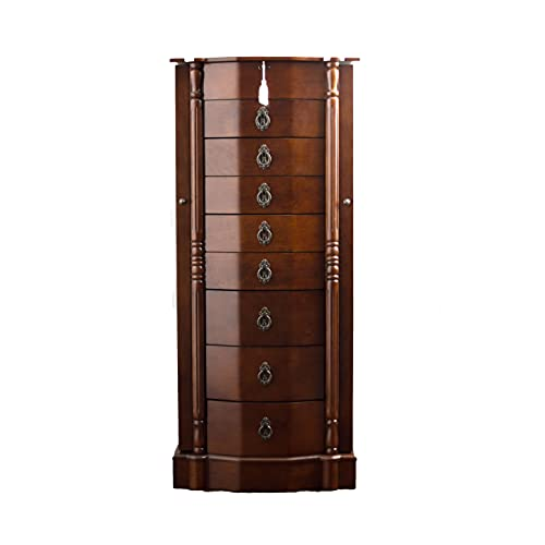 Hives and Honey Sheffield Standing Armoire Jewelry Cabinet, Walnut