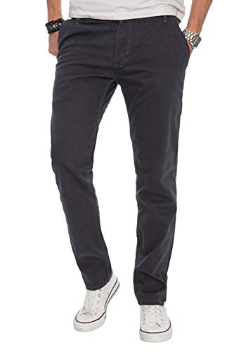 A. Salvarini Herren Designer Chino Stoff Hose Chinohose Regular Fit AS016 AS-016-Anthrazit-W34-L34