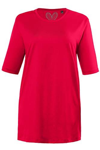 Ulla Popken Große Größen Damen T-Shirt, Rundhals, Rot (Rot 51), 50/52 (Herstellergröße:50)
