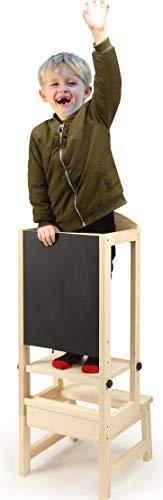 Kinder-Tritt-up-Küchenhelfer, Kleinkind-Tritthocker, Lernturm mit Tafel und weißer Tafel, Zeichnung für Kleinkinder (Größe: 35 x 37 x 90 cm)
