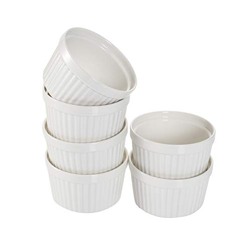 Hasense 7 OZ Porcelain Ramekins, Oven Safe Souffle Dishes for Pudding Creme Brulee and Custard, Ramekin Set of 6 for Baking and Dippng Sauces, White