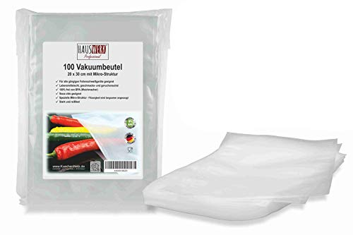 """Vakuumbeutel von HAUSWERK für Lebensmittel\""""Made in Germany\"""" (100 Btl. 20x30cm – Sous-vide) Profi-Qualität für alle Folienschweißgeräte   Vakuum-Folie"""