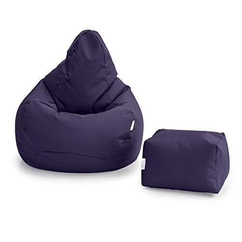 Loft 25 Puff Pera Gamer | Silla Puff Pera para Exteriores Interiores Sala | Resistente Al Agua | Limpieza Fácil | Diseño Ergonómico para Soporte del Cuerpo (Púrpura, Puff + Reposapiés)
