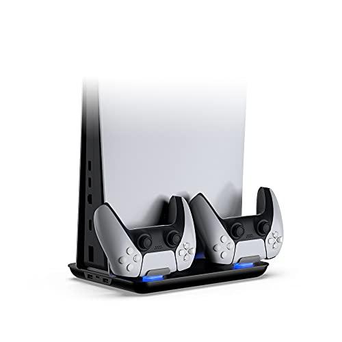 TwiHill a base do ventilador de resfriamento do host é adequada para PS5, dock de carregamento de luz azul para gamepad, acessório PS5, preto