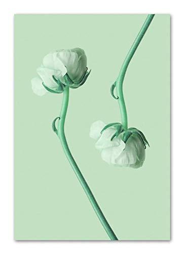 Wuzhaodi Poster Geniet van bloemen bladeren plant poster en druk muurkunst canvas schilderijen Nordic poster decoratie afbeelding hoofddecoratie 80X100CM A