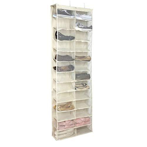 BiaBai 26 ranuras de rejilla Puerta grande de tela no tejida que cuelga sobre los zapatos Bolsa de almacenamiento Organizador de zapatos para accesorios del hogar