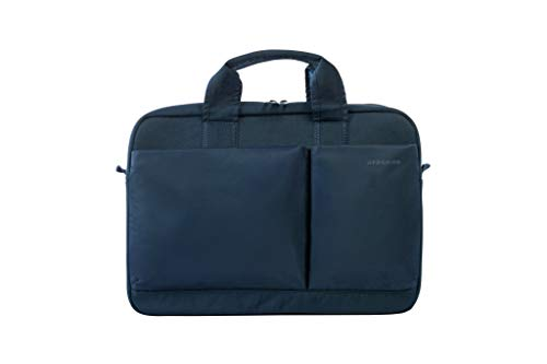 Tucano-Slim bag for Laptop up to 15.6' inches and MacBook Pro 15' Retina. Business Bag and University. Man and Woman. Document holder, Durable. Pockets for iPhone and iPad. Shoulder Bag Included,Blue