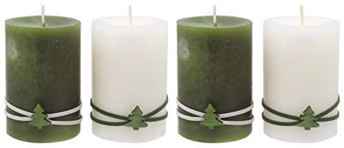 ZauberDeko 4 Adventskerzen Kerzen Stumpenkerzen Adventskranz Grün Creme Tannenbaum Weihnachten Advent Deko Tischdeko