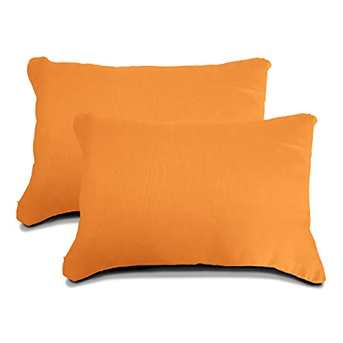 Meishida Lot de 2 housses de coussin pour canapé et lit avec fermeture éclair cachée Orange 40 x 60 cm