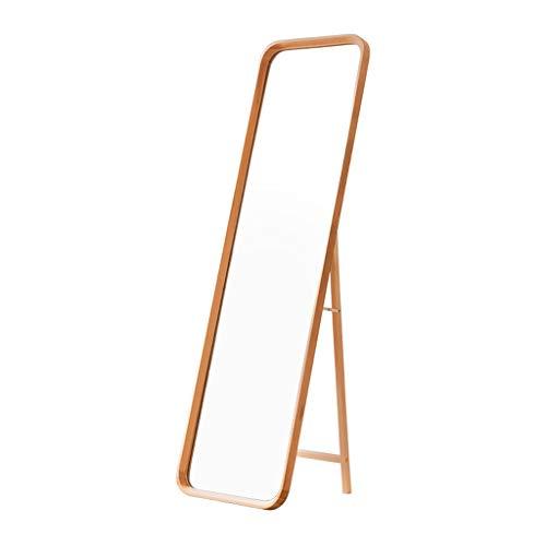 Miroir De Dressage De Plancher en Bois Massif Nordique, Cadre en Chêne + Miroir en Verre Argenté HD sur Toute La Longueur, Miroir De Courtoisie Anti-déflagrant Sécurisé Mural