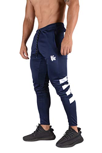 YoungLA Original Soccer Pants for Men and Women | Training Joggers Fitted Sweatpants | Tapered Workout Gym 201 (Navy/White, Small)