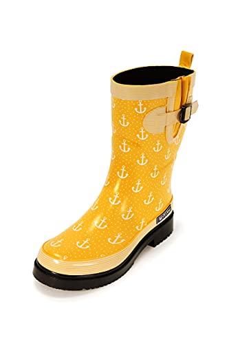 MADSea Damen Gummistiefel Ocean Anchor gelb Anker Design, Größe:39 EU