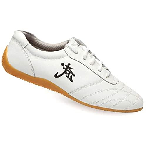 Mujeres Hombres Zapatos de Artes Marciales , Unisex Invierno Zapatos de Tai Chi Kung Fu Taekwondo, Adulto Suela Oxford Zapatillas de Entrenamiento Deporte para Boxeo, Kara(Size:48EU/17US,Color:blanco)
