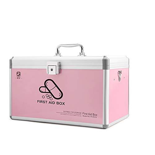 ZHJ Haushalt Mehrschichtige Große Visiting Medical Box Kindernotfall Gesunde Aufbewahrungsbox Erste-Hilfe-Kasten (Color : Pink, Size : Medium)