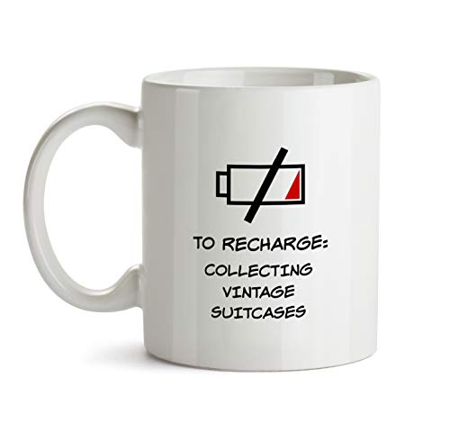 Collecting Vintage Suitcases - Gift Mug - AA137 Funny I Love Doing Present Gag Time to Recharge Coffee Tea Cup for Coworker Friend Men Women Inexpensive Fun Idea