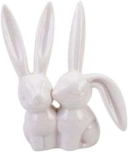 TAIDENG Escultura Arte Decoración Cerámica Conejo Mini Figuras Anillo Joyería Almacenamiento Rack Decoración Adornos De Cerámica Regalos De Cumpleaños para Amigo