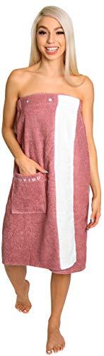 Loukidu-Saunakilt-Damen-Rosa [SAUNAKILT] 100% BIO-Baumwolle | Wellness Saunakleid Damen | Saunasarong gummizug mit druckknöpfen (Retro Rosa, 76 x 144 cm)