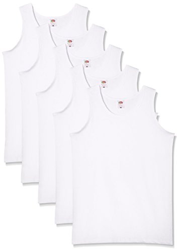 Fruit of the Loom Herren Regular Fit Unterhemd 5-Pack Athletic Mens, Weiß (White), Large