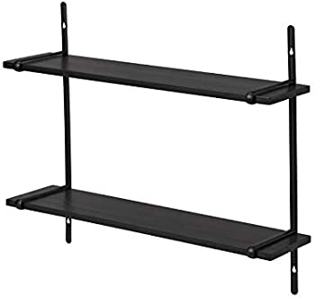 Ouer Mxarltr Floating 2 Tier Rustic Solid Wood Storage Wall Shelves
