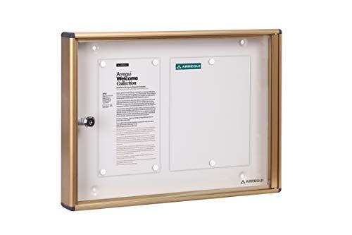 ARREGUI PAN46 Bacheca Porta avvisi/pubblicitá in Alluminio e metacrilato con capacità per 2 Fogli DIN A4, Dorato