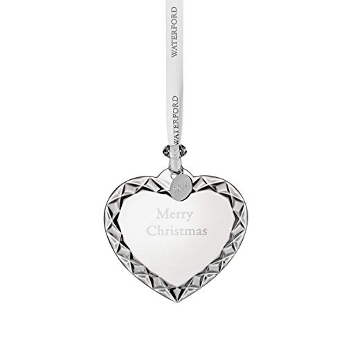 "Waterford Crystal Heart Ornament ""Merry Christmas"" 3'"
