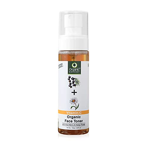 Organic Harvest Skin Illuminate Vitamin C Face Toner for Tightening, Whitening, Brightening & Blemish Free Skin, Infused With Acai Berry and Daisy Flower, 100% Organic, Paraben & Sulphate Free – 100ml