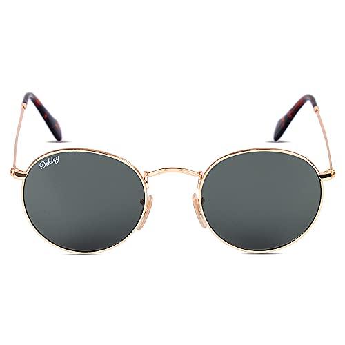Dikley Gafas de sol redondas retro de cristal con marco de metal para hombres y mujeres, 53 mm, protección 100% UV400