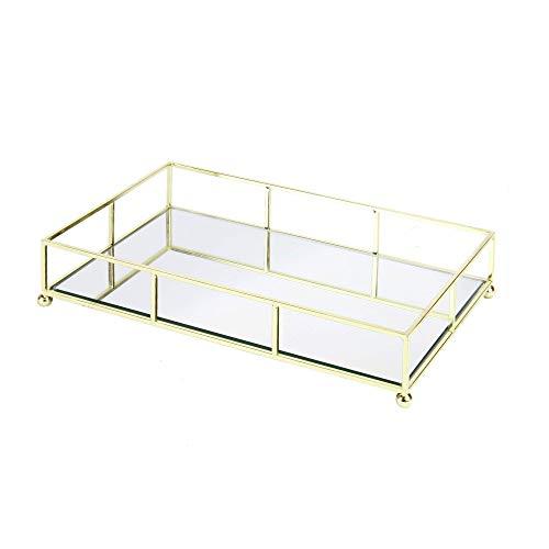 Gold verspiegeltes Tablett   Schminktisch Tablett   Dekorative Aufbewahrung   Spiegel Schmuck & Makeup Organizer   Waschtisch   Trinktablett   M & W