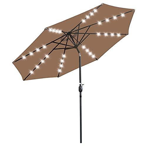 SUPER DEAL 10FT Patio Umbrella 32 LED Lighted Solar Umbrella Outdoor Market Table Umbrella w/Push...