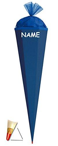 alles-meine.de GmbH Schultüte - Rohling - kräftiges BLAU - 85 cm - incl. Namen - mit Holzspitze / Filzabschluß - Zuckertüte Roth - zum Basteln, Bemalen und Bekleben Bastelschultü