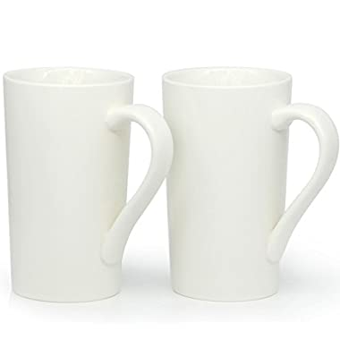 20 oz Large Coffee Mugs, Zocokey M007 Plain Tall ceramic Cup with Handle for Dad Men, Set of 2, White