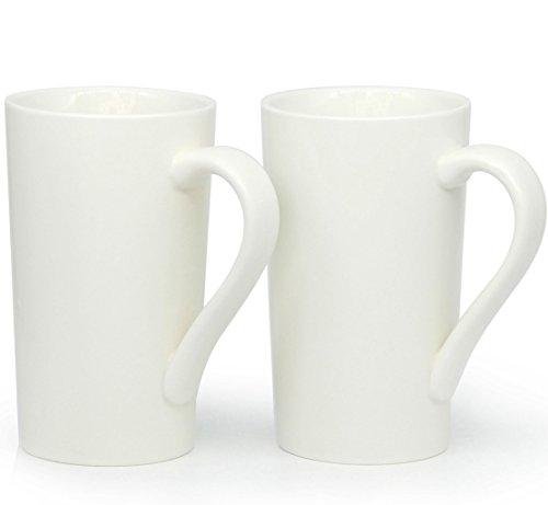 600 ml große Kaffeetassen, Smilette M007 Plain Tall Keramik Tasse mit Griff für Papa Männer, 2er Set, weiß