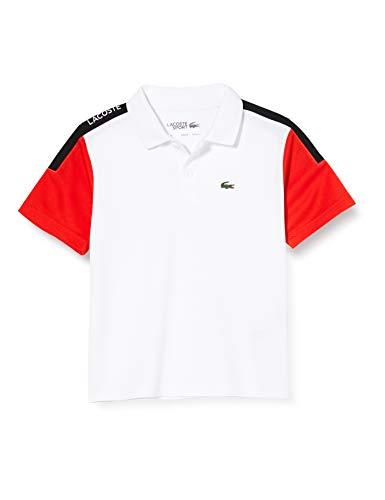 Lacoste Jungen Dj5742 Poloshirt, Weiß (Blanc/Corrida-Noir 5xt), 10 Jahre (Herstellergröße: 10A)