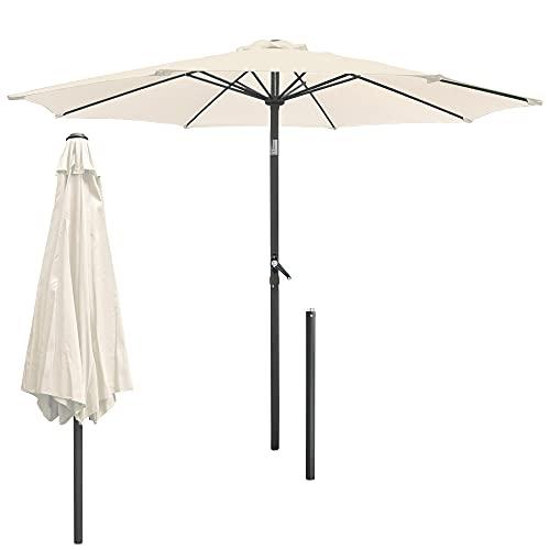 ECD Germany Sombrilla de Playa Ø 300 cm de Aluminio Redonda Crema Parasol de Jardín con Manivela con Protección UV Inclinable/Plegable con 6 Costillas Paraguas para Mercado Piscina Camping