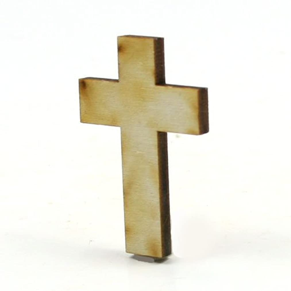 Mylittlewoodshop - Pkg of 50 - Cross - 1-1/2 inches tall by 1 inch wide and 1/8 inch thick unfinished wood(LC-CROS01-50)