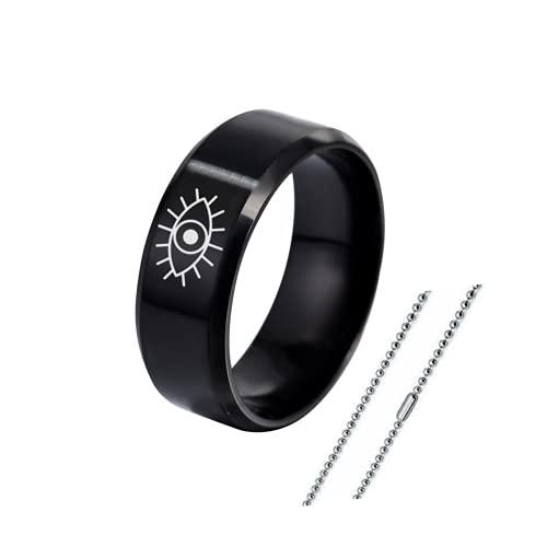 Dainty - Anillo de acero inoxidable para el mal de ojo, diseño de amuleto de dedo con cadena y talismán turco para mujeres y hombres, talla 6-12, Acero inoxidable,