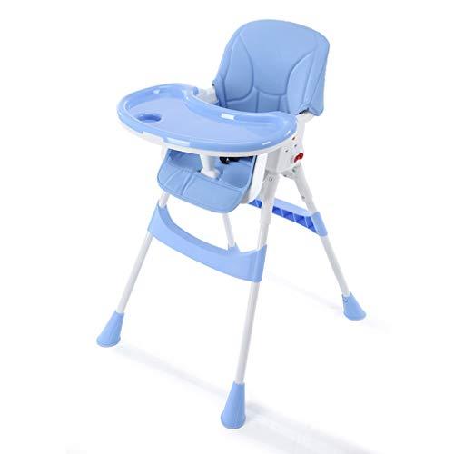 YShop Chaise Haute for bébé Pliable, Plateau à Profondeur réglable avec Dossier, siège Pliant for rehausseur Confort for Enfant en Bas âge ( Color : Blue )