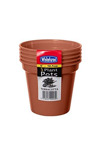 Whitefurze G04016 12.7cm Garden Pot - Terracotta (Set of 5)