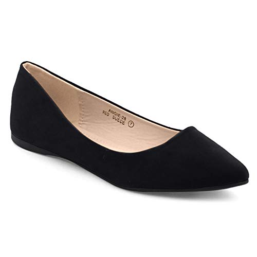 Bella Marie BellaMarie Angie-28 Women's Classic Pointy Toe Ballet Flat Shoes Black Suede 8.5 B(M) US